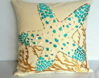 Aqua starfish Sea themed pillow cover. Decorative Nautical inspired pillow. Baige and aqua blue starfish embroidery with bead work.