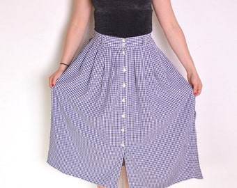 90's flared gingham midi skirt, blue and white plaid long a line skirt, navy and white retro rustic pin up country buttoned up full skirt