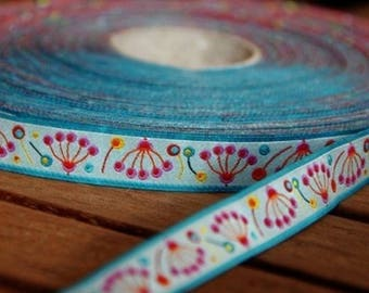 Sky blue flower 15mm the meter farbenmix Ribbon