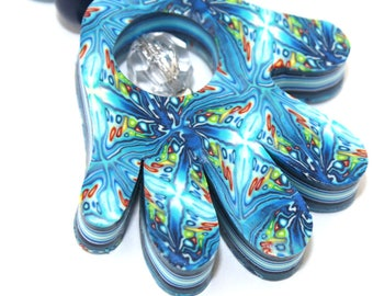 Hand made keychain in blue spirals, white and turquoise, No evil eyes Polymer clay Hamsa keychain accessories, millefiori polymer clay
