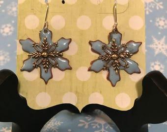 Enameled Snowflake Earrings