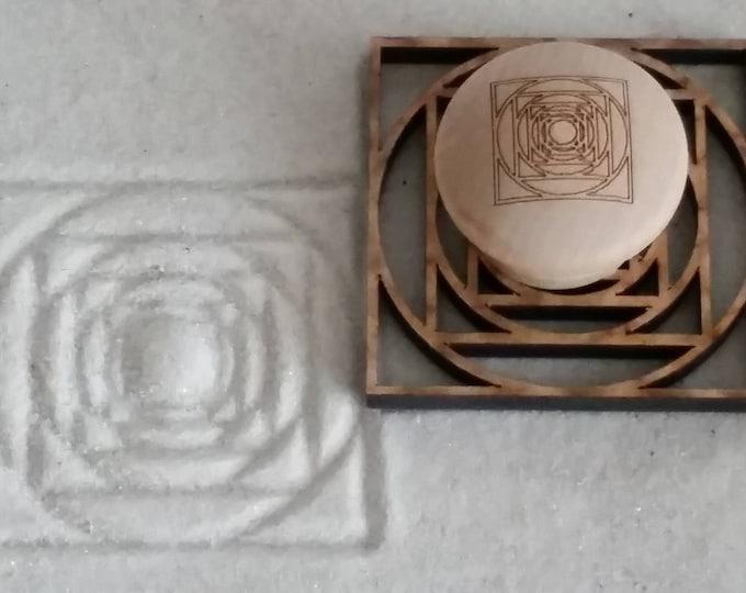 Sand Stamp, Circles and Squares Design, Zen Garden Stamp