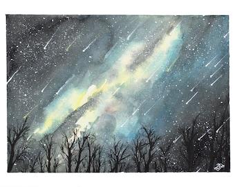 Meteor Shower - Original Watercolor 6x8