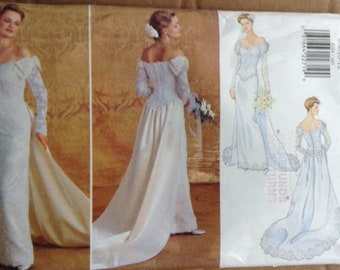 Wedding dress with train Butterick sewing pattern