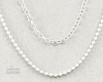 Sterling Silver Necklace Chain   Rolo Chain   Bead Ball Chain   Finished Necklace Chain   Personalized Name Jewelry - Christina Guenther