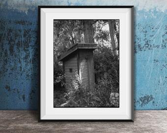 Framed Bathroom Wall Art - Vintage Outhouse Photo - Modern Farmhouse Decor - Funny Bathroom Art - Powder Room Framed Art