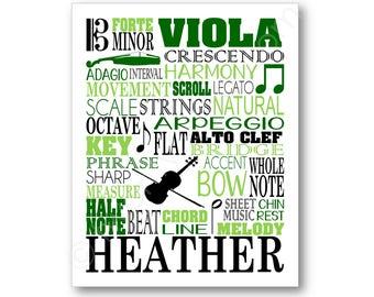 Viola Typography Poster, Viola Player Gift, Viola Gift, Viola Art Print, Viola Canvas, Violist Gift, Orchestra Wall Art, Viola Wall Art