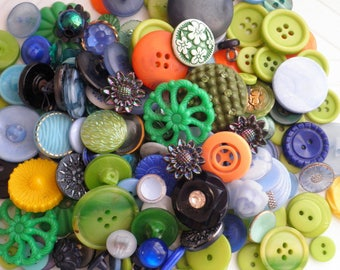 Vintage Button Destash - Huge Lot of Retro Buttons - Plastic & Glass Green + Blue + Orange + Yellow Floral Sewing / Craft Supply Mixed Lot
