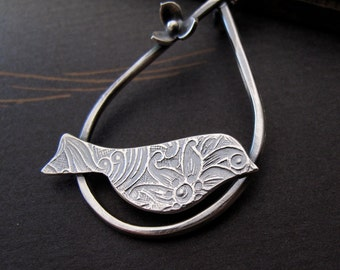 Perched Bird Necklace   sterling silver bird and flower by Modern Bird