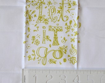 embroidery pattern on fabric Let It Go, yellow green