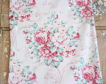Scrolled Romantic 1930s Pink Shabby Cottage Chic Muted Pink Cabbage Rose Vintage Fabric Panel - Valentines Day!
