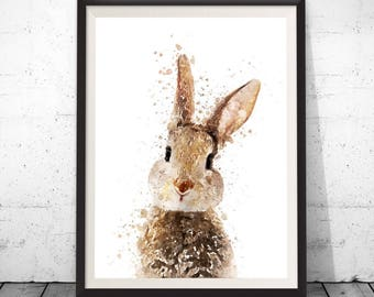 Rabbit Print, Woodland Animals, Nursery Art, Nursery Decor, Nursery Animals Print, Bunny Print, Rabbit Wall Print, Nursery Wall Art, Print