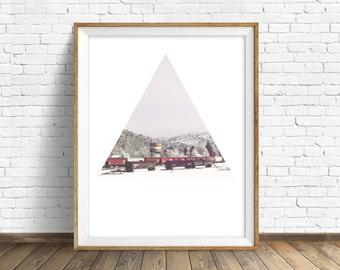 "landscape wall art print, instant download printable art, large wall art, geometric minimalist art prints, modern decor - ""Winter Trains"""