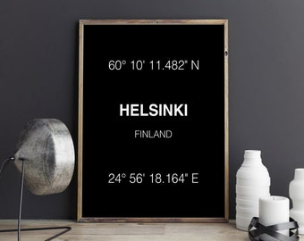 Helsinki Print, Helsinki Coordinates, Helsinki Art Print, Helsinki Poster, Helsinki, Wall Decor, Wall Art, Printable Art, Digital Download