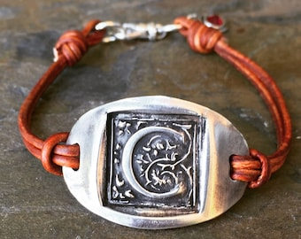 Custom fine silver, wax seal initial leather bracelet