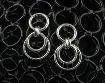 Silver Dangle Earrings - Sterling Silver Dangle Drop Earrings - Silver Drop Earrings - Post Earrings - Circle Ring Link Earrings