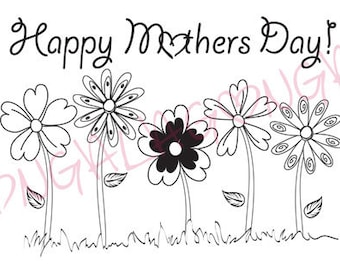 Mothers Day Digital Stamp 5 Flowers