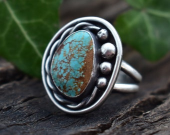 Size 9.5 Sterling Silver and Number 8 Turquoise in a Traditional Sterling Silver Setting