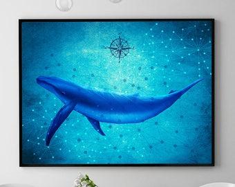 Blue Whale Print, Ocean Wall Art Decor, Whale Painting, Marine Poster, Coastal Decor, Home Decorations, Kids Room (N423)