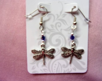 Dragonfly with blue AB crystal earrings