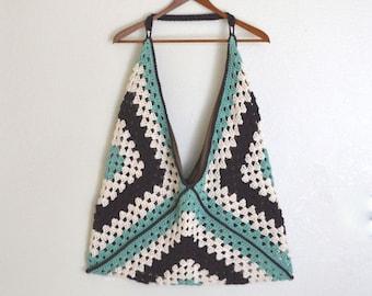 Granny Square Bag Large Crochet Cotton Market Beach Tote White Sea Blue Brown Striped Shoulder Bag