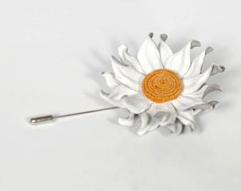 White Flower Lapel Pin Mens Lapel Flower Men Stick Pin Leather Flower brooch Mens Boutonniere Leather Wedding Flowers Jewelry Mens Gift idea