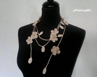 Crochet Necklace,Crochet Neck Accessory, Flower Necklace, Ivory, 100% Cotton.