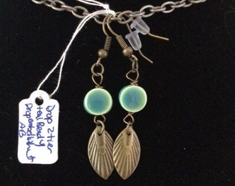 """2"""" Drop Earrings Robins Egg glass beads with antique bronze filigree embellishments and findings."""
