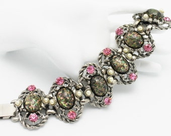 Vintage Statement Bracelet Confetti Cabachons Pink and Pearls