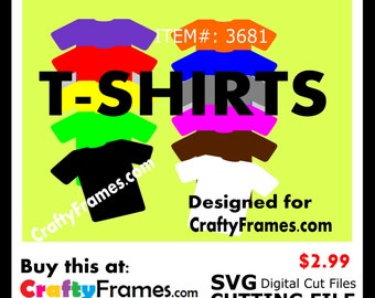 ITEM # CF-3681 -Colored T-Shirts Bundle - SVG Cutting Machine File - Instant Download - Commercial Use - 2.99