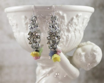 Vintage Assemblage Rhinestone and Glass Floral Dangle Earrings, Pastel Glass Flower Dangle Earrings, Pastel Bridal Assemblage Earrings