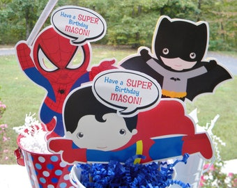 Personalized Super Hero Birthday Cake Toppers  - Super Hero Centerpieces - Superman Spiderman Batman Toppers - Centerpiece - Party Decor