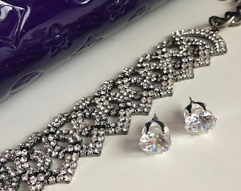 Gunmetal crystal Choker, Sparkle choker, Choker, Choker Jewelry, Bling Choker, Diamond Choker, crystal jewelry