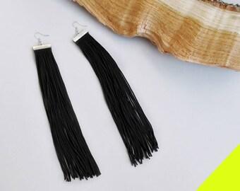 Long fringe earrings, Black earrings, READY to ship, FREE SHIPPING, Statement earrings, Long earrings, Gift For Her, Silver Hook Earrings