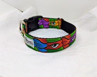 TMNT - Custom Handmade Dog Collar, Teenage Mutant Ninja Turtles Inspired, Comics, Movies, Pizza, Splinter, Multiple Sizes