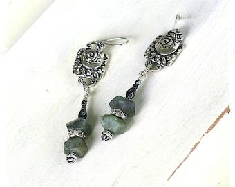 Boho Labradorite Earrings Gray Gemstone Long Dangle Earrings with Rhinestones, Urban Tribal Drop Earrings Gift for Girlfriend
