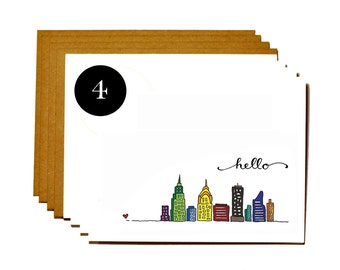 New York city set of 4 greeting cards - hello skyline cards
