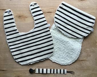 Schwarz-Weiß-Streifen-Lätzchen-Geschenk-Set