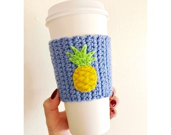 Pineapple Coffee Cozy | Knitted Coffee Cozy | Periwinkle Coffee Cozy