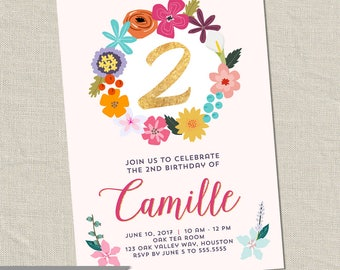 Flower Birthday Party Invitations - Floral Birthday Party -  Wildflower Birthday Invites (Printable Digital F1ile OR Printed Cards)