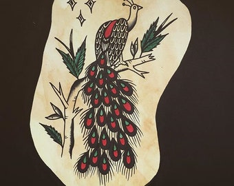 Peacock traditional tattoo flash art print