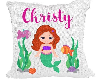 Mermaids Underwater Pillow, Mermaid Pillow Sequin, Mermaid Pillow Case, Mermaid Pillow Personalized, Mermaid Pillow Cover **WITH STUFFING**
