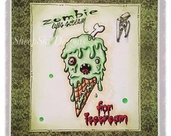 INSTANT DOWNLOAD Sentiments Included Creepy Cute Zombie Icecream Digital Stamp - Eyes Scream Image No.314 by Lizzy Love