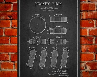 1940 Hockey Puck Patent, Canvas Print,  Wall Art, Home Decor, Gift Idea