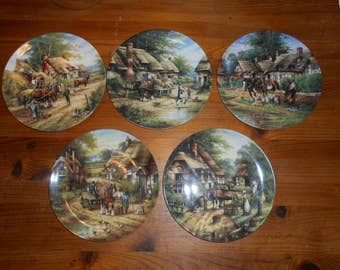 Wedgewood collectors plates decorative art object shelf sitter ornamental shabby chic country decor Victorian village scenes country days