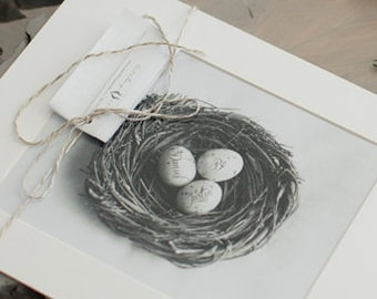 Custom Mothers Day Gift, Personalized Mothers Nest Art Print, Gift Idea for Her, Gifts Under 50, Egg in Nest Decor Photo, Mothers Artwork
