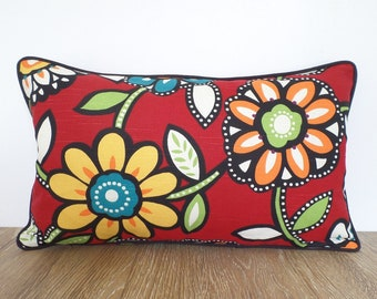 Red flower pillow cover 20x12, floral lumbar pillow case, red and green cushion for window seat