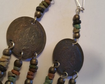 "1970's Coin Earrings Boho Tribal Dangle Pierced Earrings Vintage Bead and Coin Chandelier Earrings on Wires 3"""