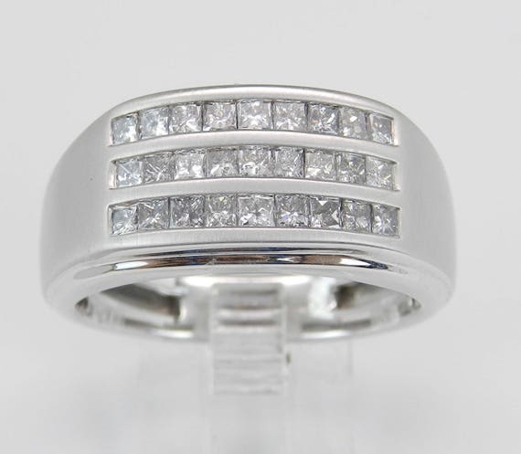 Mens 1.00 ct Princess Cut Diamond Wedding Ring Anniversary Band White Gold Size 10.75