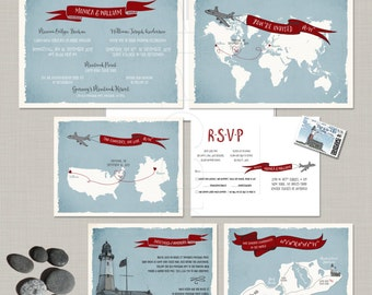 Destination wedding invitation Two Countries World Map Airplane bilingual illustrated wedding invitation German-English DEPOSIT Payment